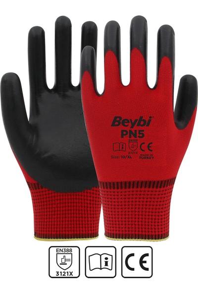 Beybi Nitril Polyester Pn5 Kırmızı-Siyah No:10 12 Çift