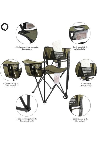 Norrfika 11 150 Katlanır Pratik Kamp Sandalyesi Çok Amaçlı Cepli ve Bardak Bölmeli Kamp Piknik Bahçe Sandalyesi