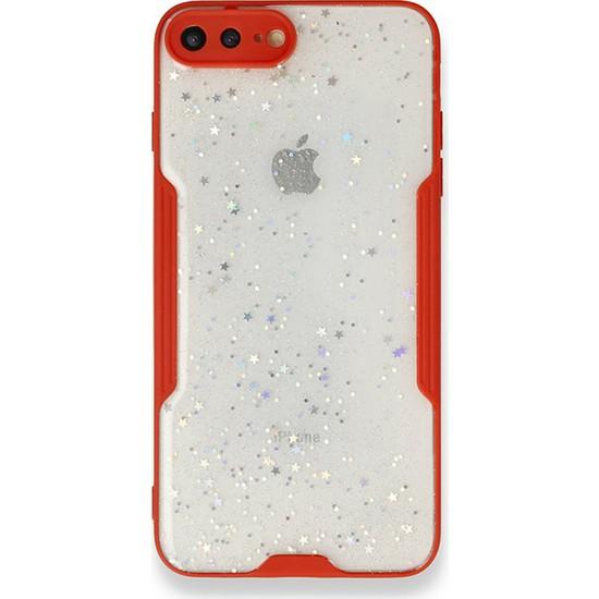 Moserini iPhone 7 Plus Platin Silikon Silvery Kırmızı Telefon Kılıfı - Simli