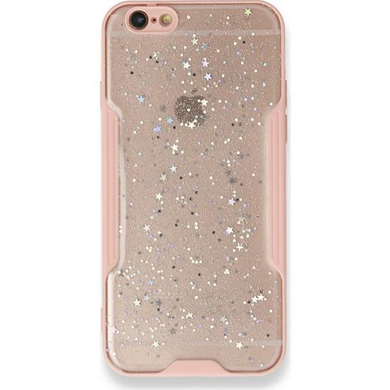 Moserini iPhone 6 / 6s Platin Silikon Silvery Pembe Telefon Kılıfı - Simli