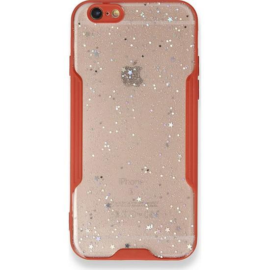 Moserini iPhone 6 / 6s Platin Silikon Silvery Kırmızı Telefon Kılıfı - Simli