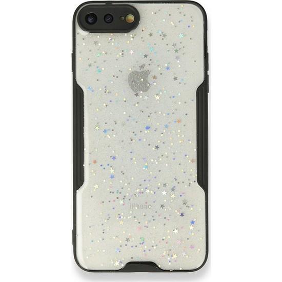 Moserini iPhone 8 Plus Platin Silikon Silvery Siyah Telefon Kılıfı - Simli