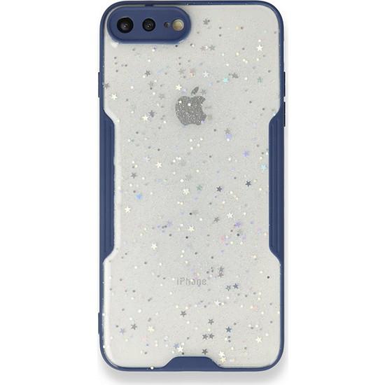 Moserini iPhone 8 Plus Platin Silikon Silvery Lacivert Telefon Kılıfı - Simli