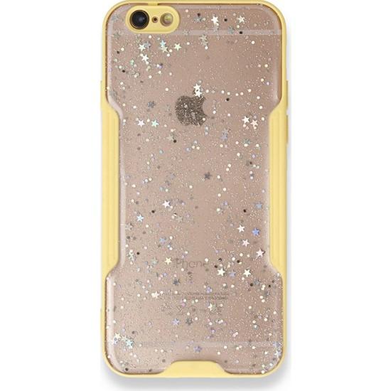 Moserini iPhone 6 / 6s Platin Silikon Silvery Sarı Telefon Kılıfı - Simli