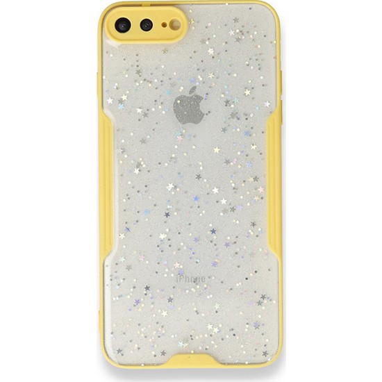 Moserini iPhone 7 Plus Platin Silikon Silvery Sarı Telefon Kılıfı - Simli