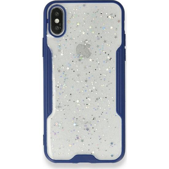 Moserini iPhone 8 Platin Silikon Silvery Lacivert Telefon Kılıfı - Simli