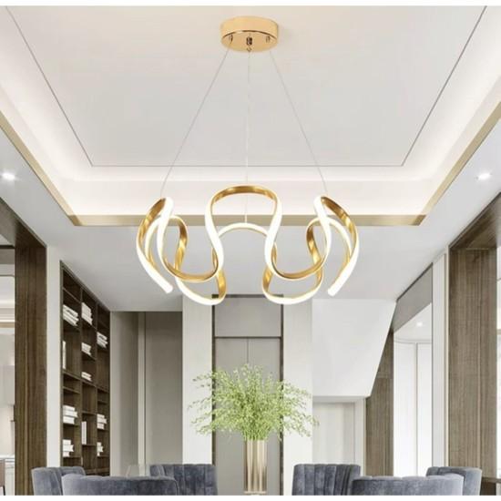 Burenze Luxury Modern Sarkıt Power LED Avize Gold Sarı BURENZE742