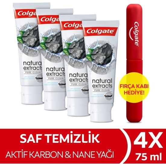 Colgate Natural Extracts Aktif Karbon ve Nane Diş Macunu 75 ml x 4 Adet + Fırça Kabı