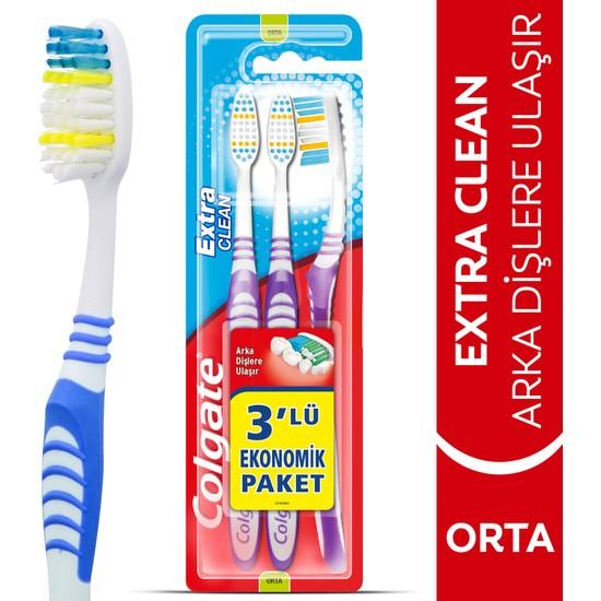 Colgate Extra CleanDil Temizleyicili Arka Dişlere Uzanan Orta Diş Fırçası 2+1