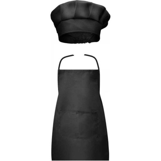 Erkek Bebek Şef Aşçı Önlük Şapka Set Siyah