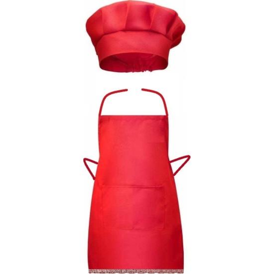 Kız Bebek Aşçı Önlük Şapka Set Kırmızı