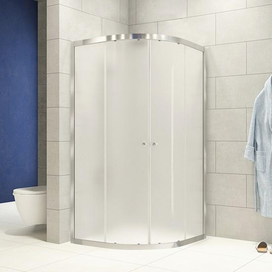 Durul Duşakabin 90 x 90 cm Oval Buzlu Desen Duş Teknesiz