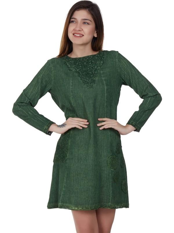 Eliş Şile Bezi Bade Tunik Yeşil