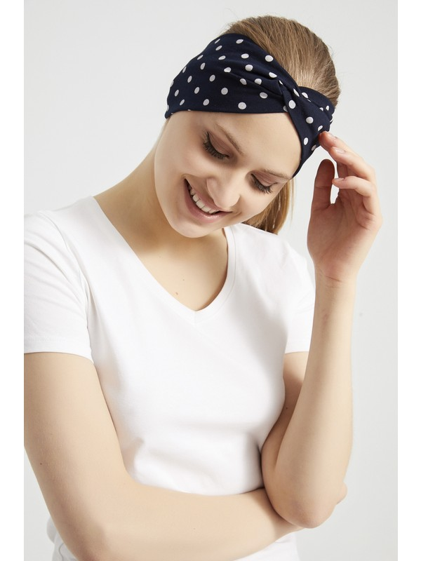 Butikgiz Siyah Beyaz Puantiyeli Butik Bandana Saç Bandı, Ekstra Yumuşak, Esnek, Doğal, Pamuklu Penye Kumaş