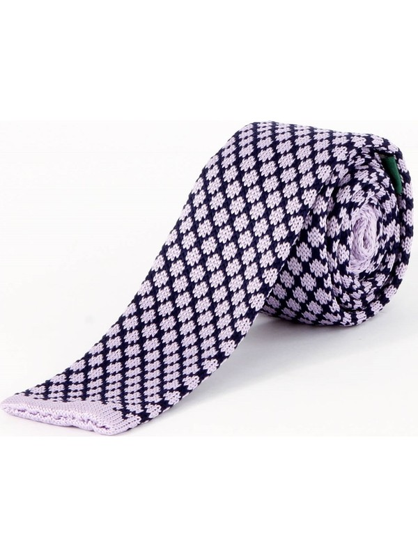 Dufy Lila Desenli Örme Kravat