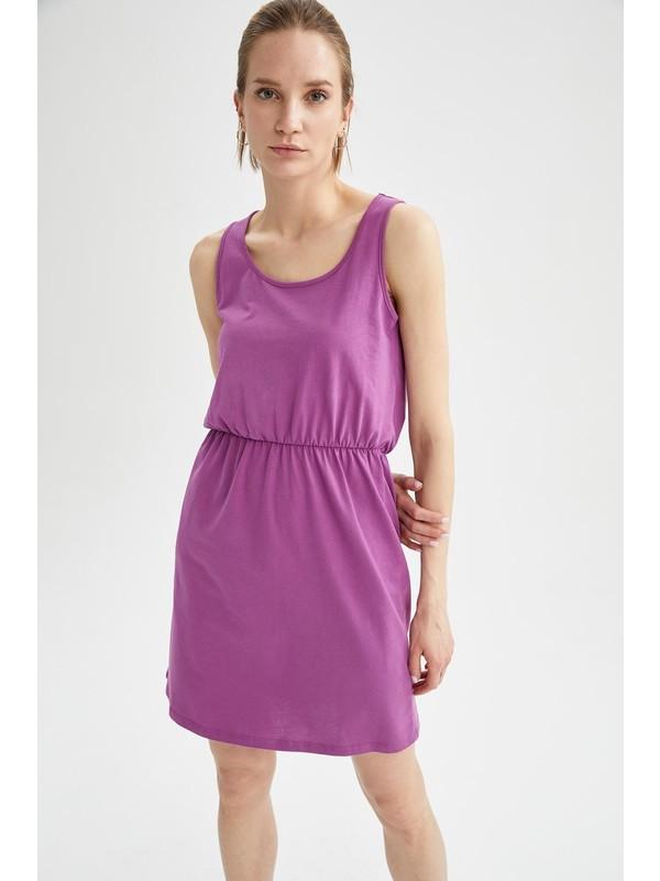 Relax Fit Beli Büzgülü Askılı Basic Elbise