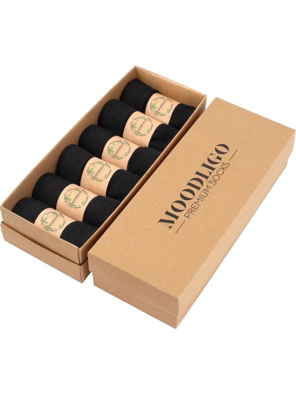 Moodlıgo Premium 6'lı Siyah Bambu Çorap