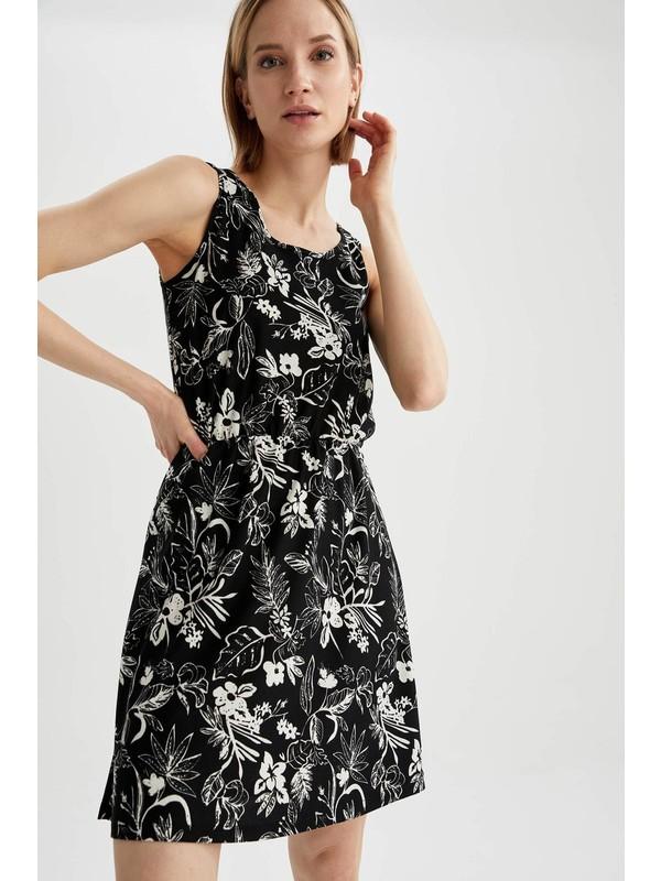 Defacto Çiçek Desenli Yuvarlak Yaka Kolsuz Elbise