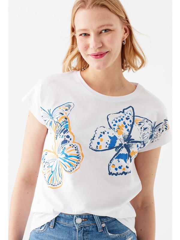 Mavi Kadın Kelebek Baskılı Beyaz Tişört 1600833-620