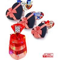 hediyekombini Mega Lüks 3'lü Kalp Kutuda Sevgiliye Doğum Günü H Kulesi Sepeti Kırmızı Beyaz Kutu