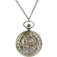 Profisher Klasik Kuvars Köstekli Cep Saati Bronz Antika Kolye Zincirli Rose Gül Desenli