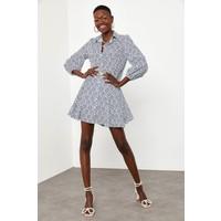 Xhan Mavi Etnik Desen Gömlek Elbise 1KXK6-44827-12