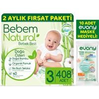 Bebem Natural Bebek Bezi 3 Beden Midi 2 Aylık Fırsat Paketi 408 Adet + Evony Maske 10'lu Hediyeli