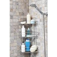 Sas Paslanmaz Krom 3 Lü Banyo Köşeliği Şampuanlık Köşelik Banyo Rafı