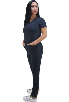 Dr. Mia Dr Mia Doktor Hemşire Forması Takım Likralı Kumaş Hastane Nöbet Forması