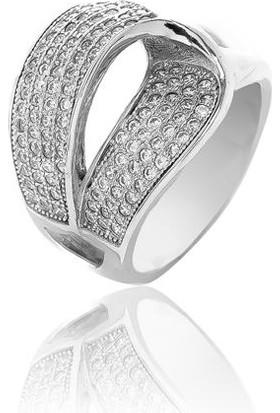 Glint Point Kıvrım Model Zirkon Taşlı Gümüş Yüzük