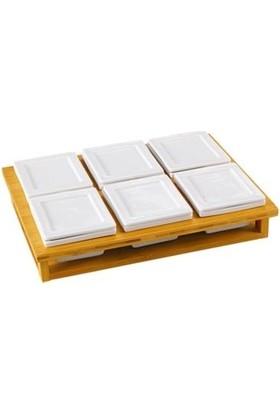 Acar La Pure Bambu Tepsili 6lı Porselen Kapaklı Kahvaltılık 10952