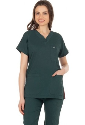 TıpMod Avcı Yeşili Kadın-Erkek Likralı Yarasa Kol Doktor ve Hemşire Forması