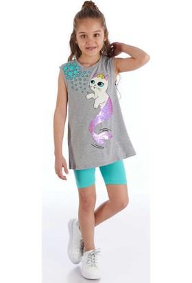 Mushi Pullu Kedi Kız T-Shirt+Tayt Takım