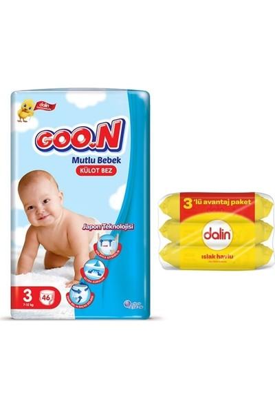 Goon Mutlu Bebek 3 Numara Külot Bez 46 Adet + Dalin Islak Havlu 3X56 Yaprak