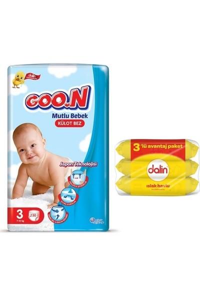 Goon Mutlu Bebek 3 Numara Külot Bez 230 Adet + Dalin Islak Havlu 3X56 Yaprak