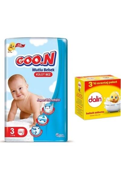 Goon Mutlu Bebek 3 Numara Külot Bez 184 Adet + Dalin Bebek Sabunu 3X100GR