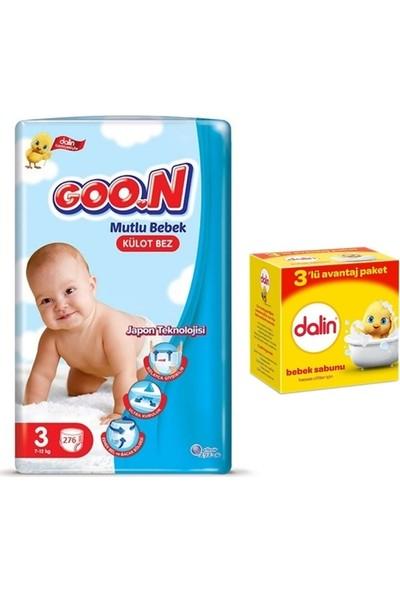 Goon Mutlu Bebek 3 Numara Külot Bez 276 Adet + Dalin Bebek Sabunu 3X100GR