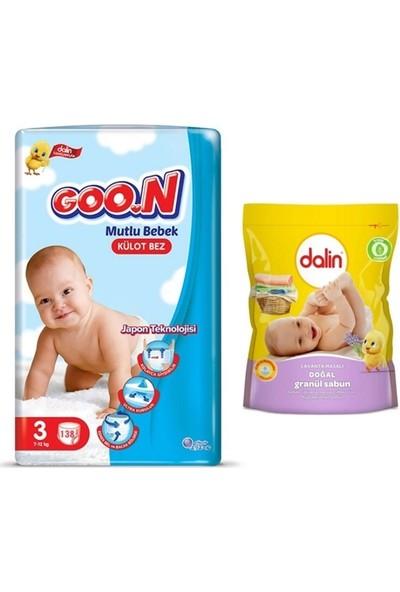 Goon Mutlu Bebek 3 Numara Külot Bez 138 Adet + Dalin Granül Sabun Toz Deterjan 500GR