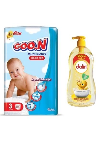 Goon Mutlu Bebek 3 Numara Külot Bez 184 Adet + Dalin Bebek Şampuanı 900 ml