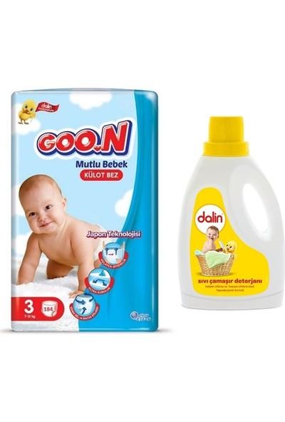 Goon Mutlu Bebek 3 Numara Külot Bez 184 Adet + Dalin Sıvı Deterjan 1500ML