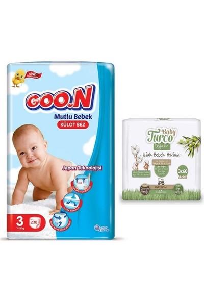 Goon Mutlu Bebek 3 Numara Külot Bez 230 Adet + Baby Turco Doğadan Islak Havlu 3X60 Yaprak