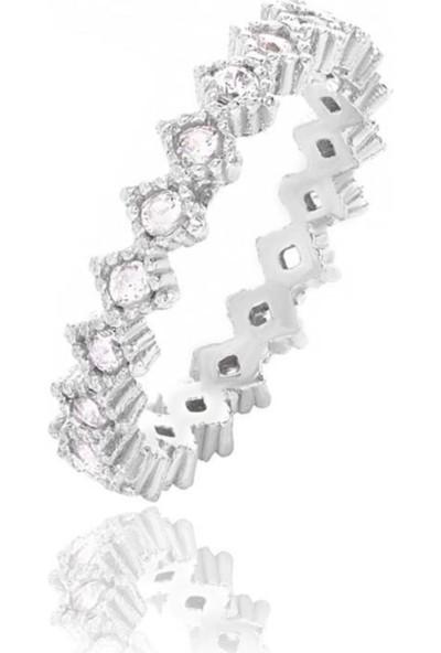 Glint Point Beyaz Zirkon Taşlı Tasarım Tamtur Gümüş Yüzük
