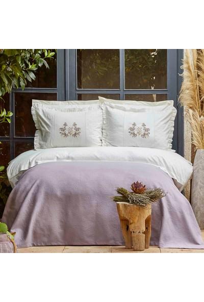 Sarah Anderson Karaca Home Garden Lila Çift Kişilik Nakışlı Nevresim Pike Set