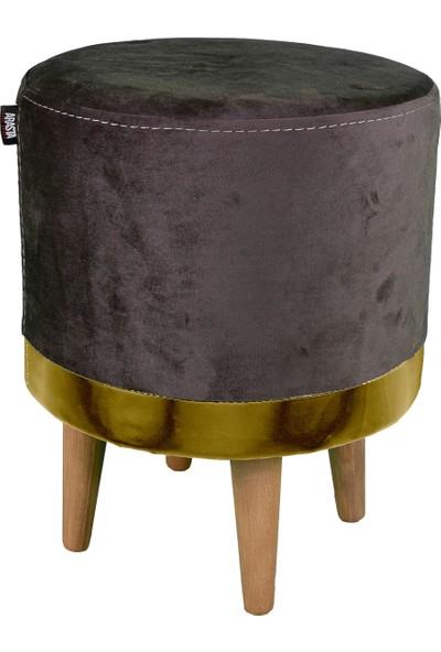 Arasta Life Style Arasta Ece 35 cm Çap Silindir Masif Ayak Puf Tabure - Gold