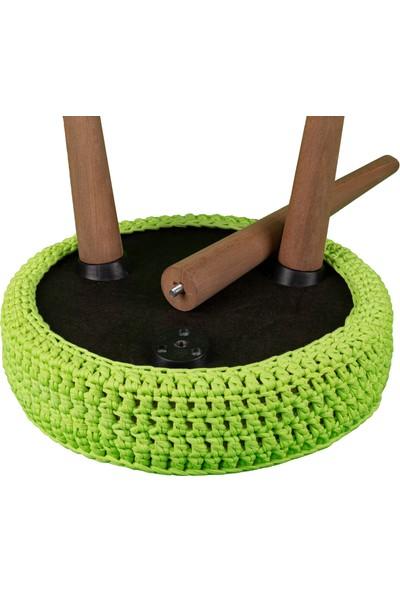 Arasta Life Style Arasta Ezo Yuvarlak Örgü Puf Tabure Masif Bacak – Fıstık Yeşil