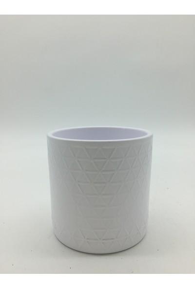 Afloday Geometrik Desen Silindir Saksı - Beyaz -S