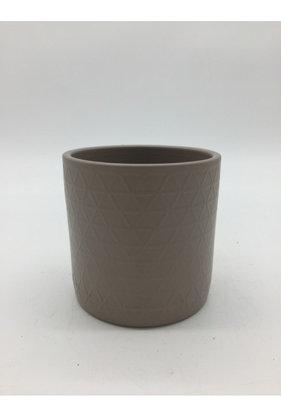 Afloday Geometrik Desen Silindir Saksı - Sütlü Kahve -S