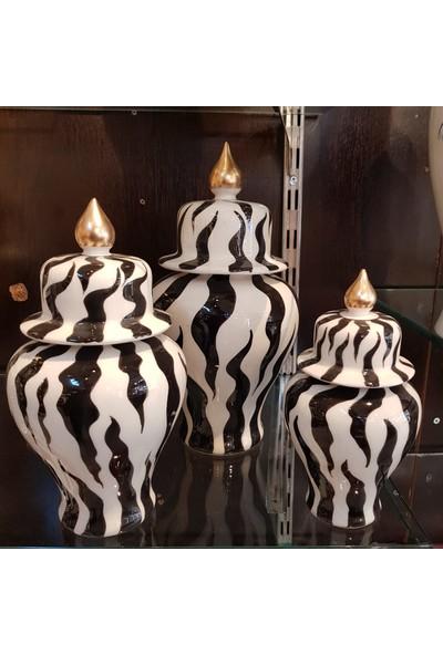 Kırat Home Desing Şık 3lü Zebra Desenli Dekoratif Küp