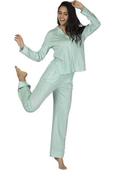 u&me 53052 Sugar Uzun Kol Kadın Pijama Takımı Mint