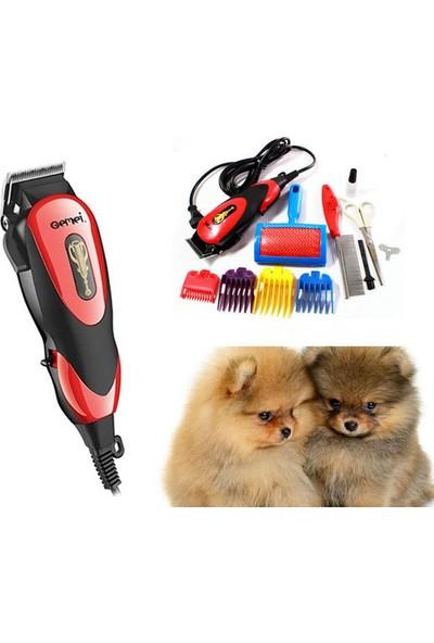 Gemei 3 In 1 Kablolu Kedi Köpek Tıraş Makinesi Seti Tüy Bakımı- Kırmızı